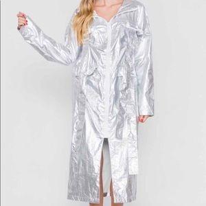 Jackets & Blazers - 🔥Steal! Silver metallic light weight long jacket